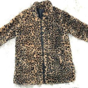 Leopard Faux Fur Coat - M